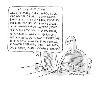 Messenger Drawing - New Yorker January 24th, 2000 by Mick Stevens
