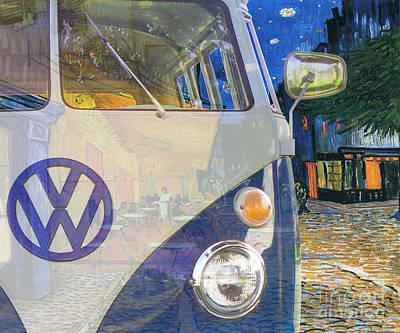 Digital Art - 110909 Bluechip Volkswagen Microbus Type2 Vangogh Tribute by BlueChip Luigi Gallone