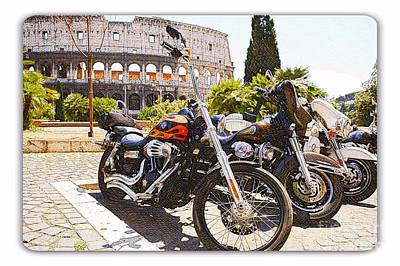 110th Anniversary Harley Davidson Under Colosseum Art Print by Stefano Senise