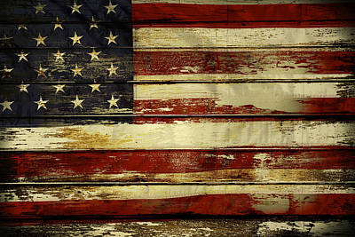 Paint Photograph - American Flag by Les Cunliffe