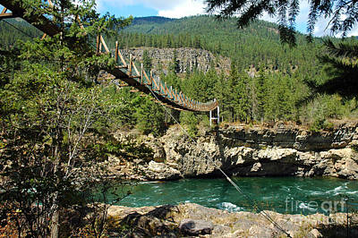 Photograph - 1135a Kootenai Falls Swinging Bridge by NightVisions