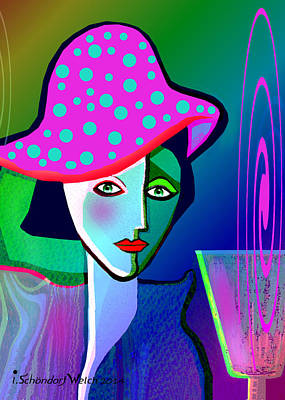 Painting - 1150 - Woman With Pocodot Hat ... by Irmgard Schoendorf Welch