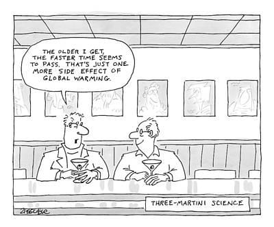 Martini Drawing - Three-martini Science by Jack Ziegler