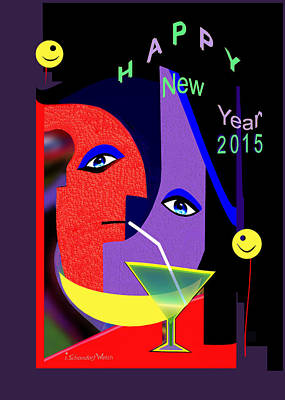 Painting - 1189 - Happy New Year 2015 ... by Irmgard Schoendorf Welch