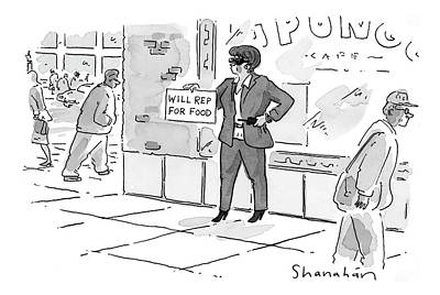 Beggars Drawing - New Yorker April 24th, 2000 by Danny Shanahan