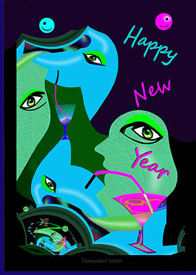 Painting - 1191 - Happy New Year by Irmgard Schoendorf Welch