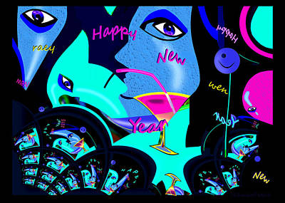 Painting - 1192 - Happy New Year ..  by Irmgard Schoendorf Welch