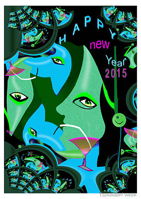 Painting - 1194 - Happy New Year by Irmgard Schoendorf Welch