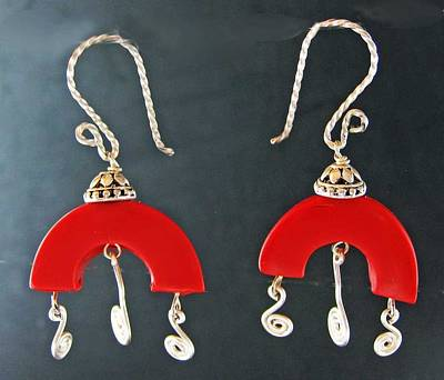 Jewelry - 1194 Red Chandelier by Dianne Brooks