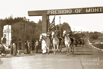 Photograph - 11th Cavalry Coming Down Artillery Street Gate Presidio Of Monterey 1931 by California Views Mr Pat Hathaway Archives