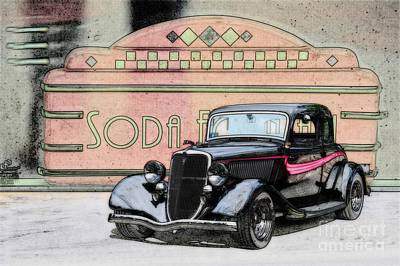 Ford Watercolor Photograph - 1934 Ford Coupe by Dave Koontz