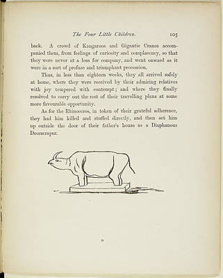 Rhinoceros Photograph - A Book Of Nonsense By Lear by British Library