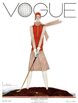 Magazine Photograph - A Vintage Vogue Magazine Cover Of A Woman by Georges Lepape