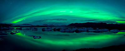Ice-floe Photograph - Aurora Borealis Or Northern Lights by Panoramic Images