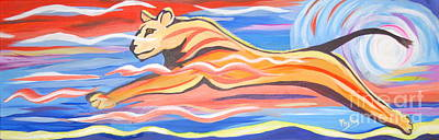 Brilliant Painting - 12 By 36 Modern Lioness Running by Phyllis Kaltenbach