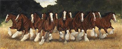 12 Clydesdales Running Art Print