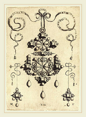 Cross Pendant Drawing - Daniel Mignot German, Active 1593-1596 by Litz Collection