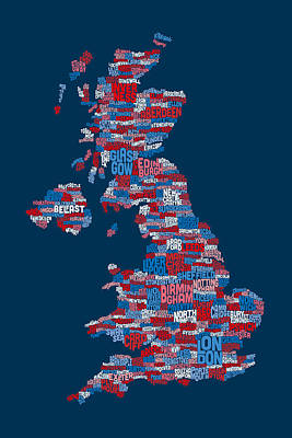 Digital Art - Great Britain Uk City Text Map by Michael Tompsett