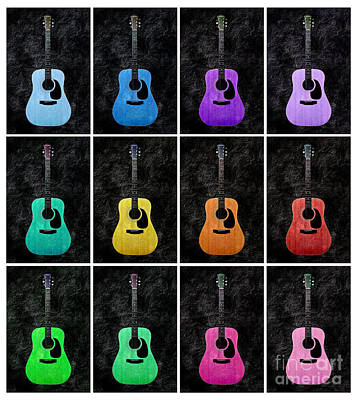 Oranges Photograph - A Rainbow Of Guitars 2 by Andee Design