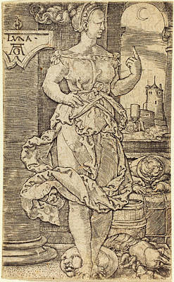 Luna Drawing - Heinrich Aldegrever German, 1502 - 1555-1561 by Quint Lox