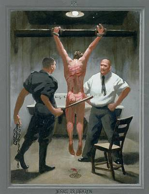 12. Jesus Is Beaten / From The Passion Of Christ - A Gay Vision Art Print by Douglas Blanchard
