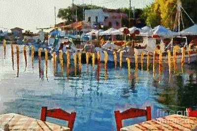 Painting - Molyvos Port In Lesvos Island by George Atsametakis