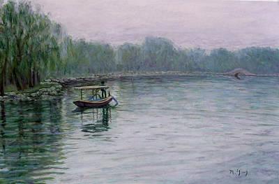 Pastel - Fishing On Lake Tai by Nancy Yang