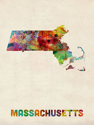 Massachusetts Watercolor Map Art Print by Michael Tompsett