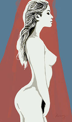 Nudes Mixed Media - Nude Pop Stylised Art Poster by Kim Wang