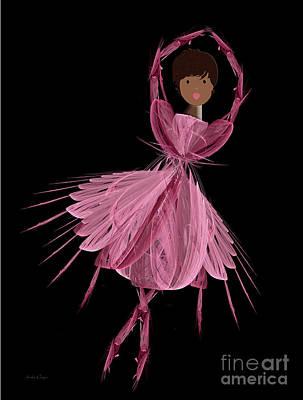12 Pink Ballerina Art Print by Andee Design