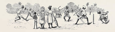 Cricket Drawing - Round The World Yachting In The Ceylon by English School