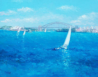 Sydney Harbour Bridge Painting - Sydney Harbour Sail Boats And The Opera House By Jan Matson by Jan Matson