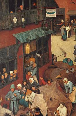 Looking Down Painting - The Fight Between Carnival And Lent by Pieter the Elder Bruegel