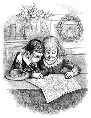 Pole Drawing - Thomas Nast Christmas by Granger