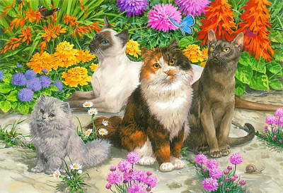 Tabby Painting - Floral Cats by John Francis
