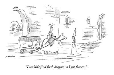 I Couldn't Find Fresh Dragon Art Print by Michael Maslin
