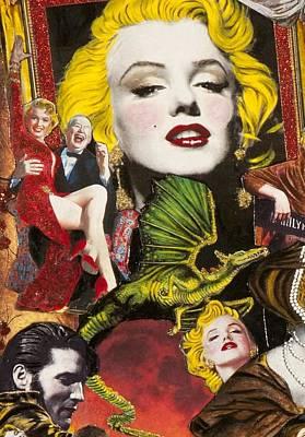 Marilyn Monroe And James Dean Painting - Marilyn Monroe And Elvis Presley by Jonell Restivo