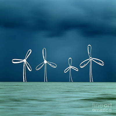 Outlook Photograph - Wind Turbine by Bernard Jaubert
