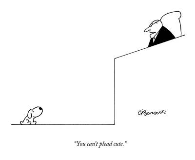 Dog Drawing - You Can't Plead Cute by Charles Barsotti