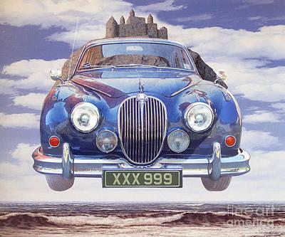 Digital Art - 120607 Bluechip Jaguar Mkii 3litre V8 Blu Magritte Tribute by BlueChip Luigi Gallone