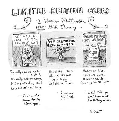 Dick Cheney Drawing - Limited Edition Cards by Roz Chast