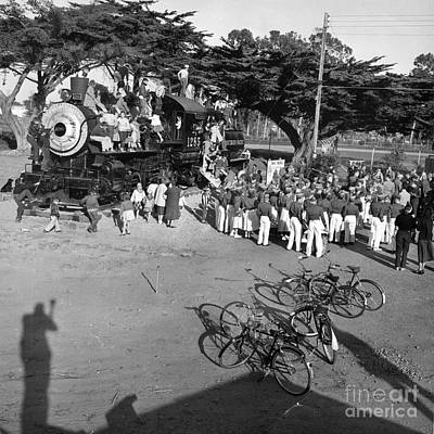 Photograph - 1285 Steam Locomotive At Dennis The Menace Park  Monterey California 1956 by California Views Archives Mr Pat Hathaway Archives