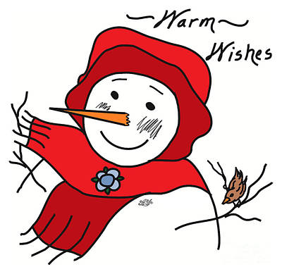 Snowwoman Digital Art - #12aaf Warm Wishes by AF Illustration