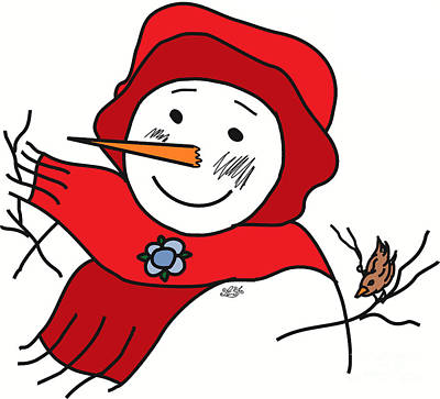 Snowwoman Digital Art - #12baf Snow Friends by AF Illustration