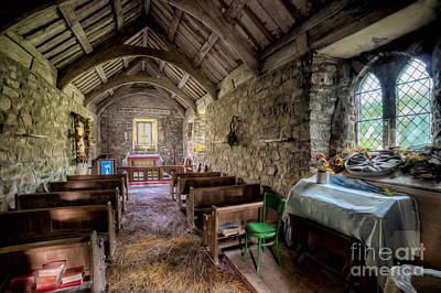 Dried Photograph - 12th Century Chapel by Adrian Evans