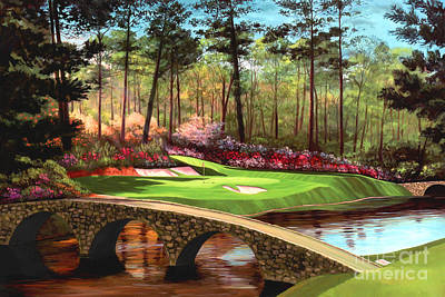 Golfer Painting - 12th Hole At Augusta  by Tim Gilliland