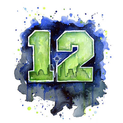 Watercolor Wall Art - Painting - 12th Man Seahawks Art Seattle Go Hawks by Olga Shvartsur