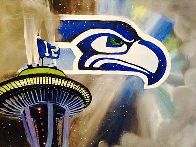 Seattle Seahawks Painting - 12th Man Shrine by Tim Loughner