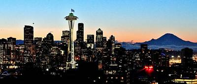 Seattle Skyline Photograph - 12th Man Sunrise by Benjamin Yeager