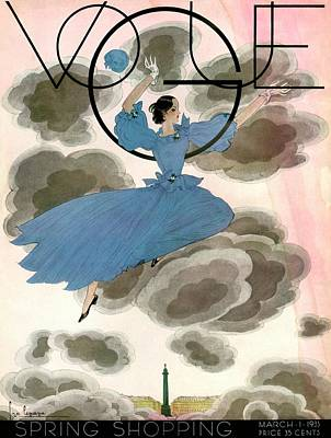 March Photograph - A Vintage Vogue Magazine Cover Of A Woman by Georges Lepape